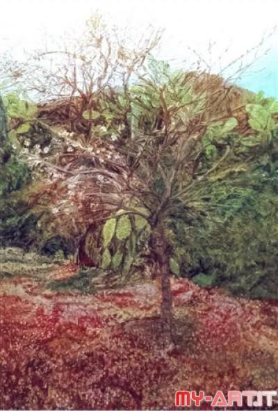 Risposta: Mandorlo in fiore - Olio su tela 70 x 50